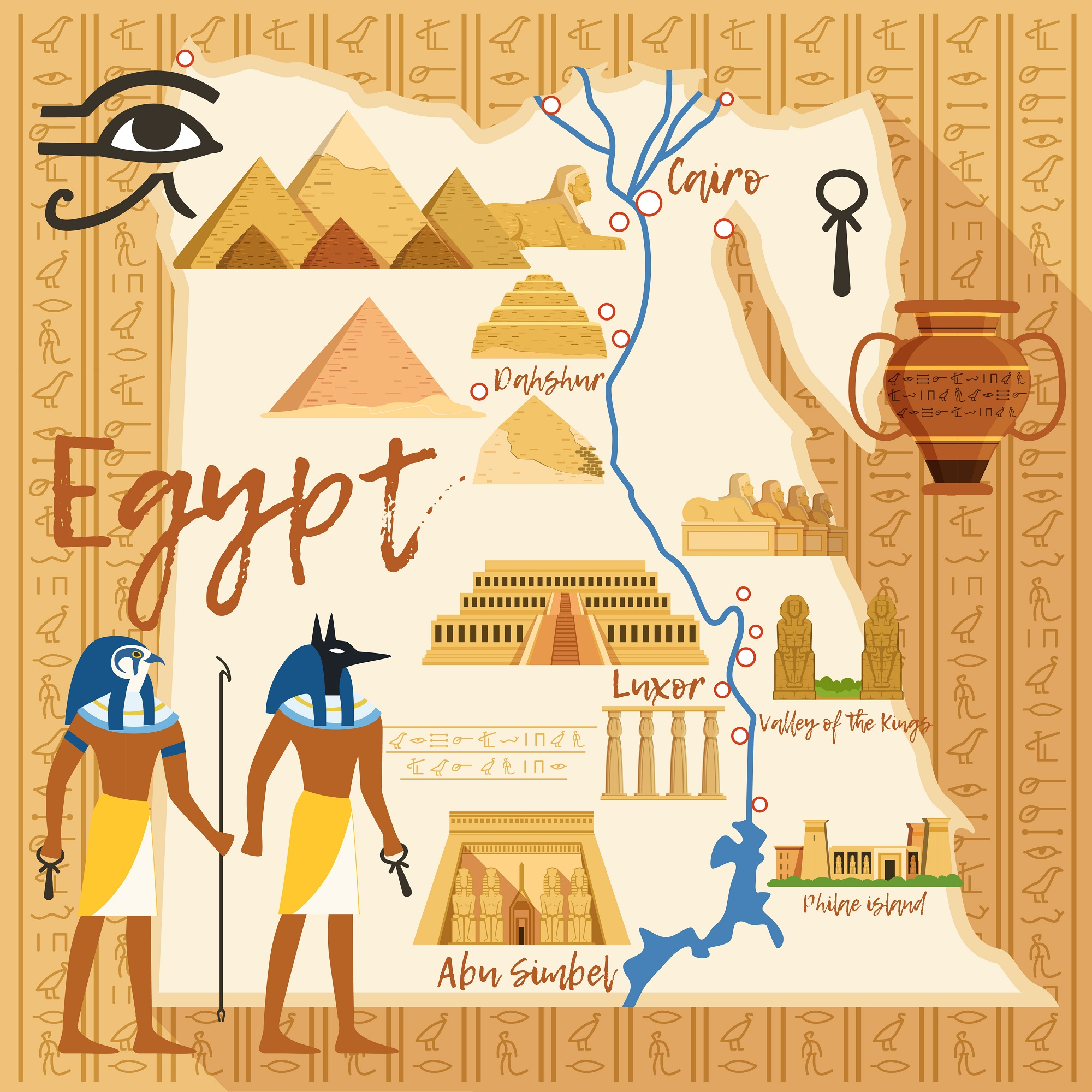 An illustration showing the location of major sites in Egypt. Shutterstock.