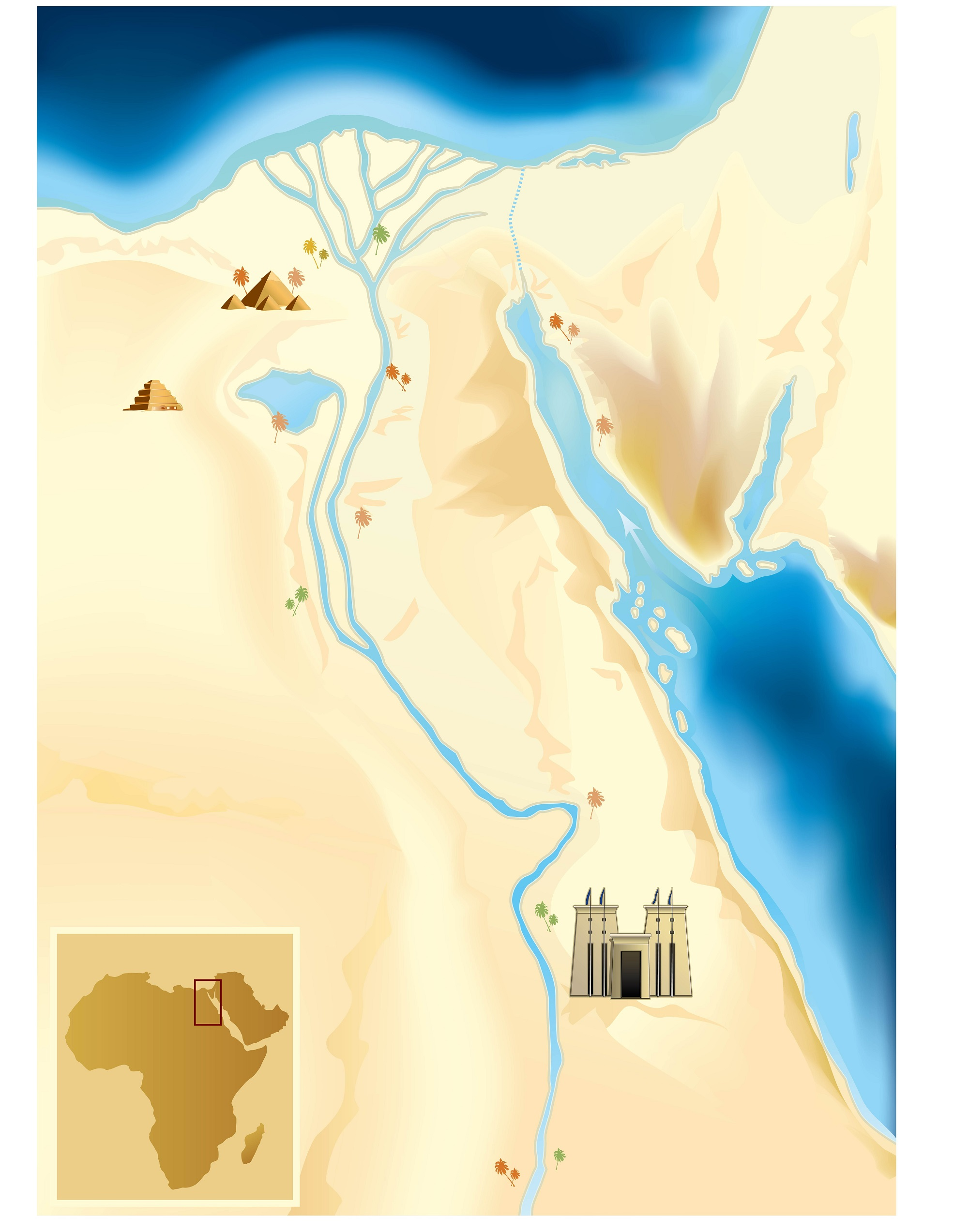 An artist's illustration of ancient Egypt's map. Shutterstock.