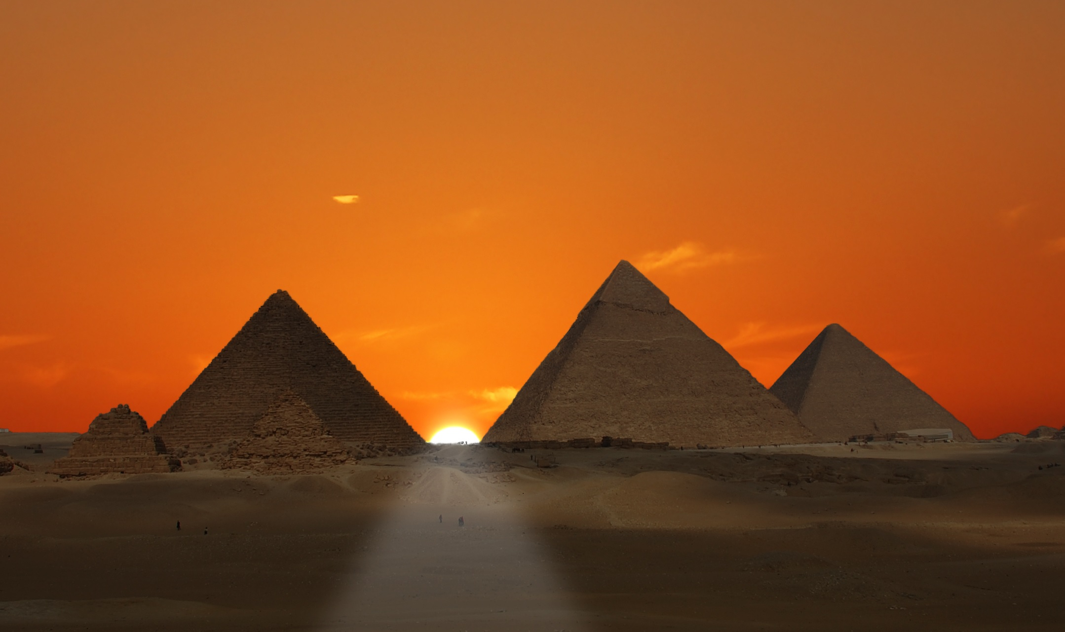 Sunset Egyptian Pyramids. Shutterstock.